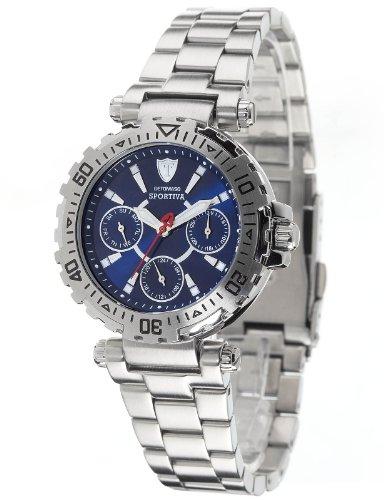 Detomaso DT3016-D - Reloj analógico de cuarzo para mujer con correa de acero inoxidable, color plateado