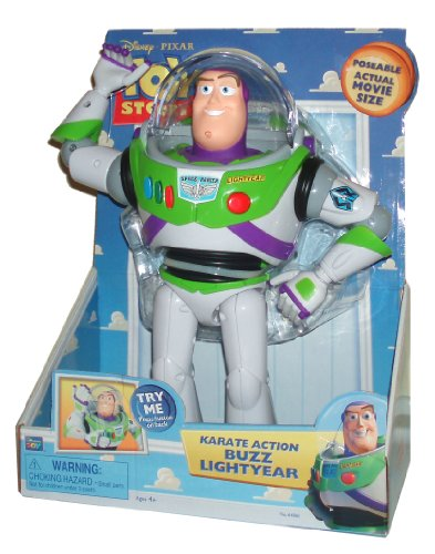 cheap disney pixar toy story poseable actual movie size 12 inch tall figure karate action buzz lightyear with moving head and multi poseable joints