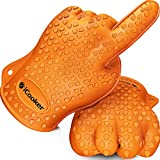 #1 Cooking Gloves - Heat Resistant - High Temperature Waterproof Insulated Kitchen Oven Mitts for BBQ - Long Silicone Rubber Grip Best for Grill - Pot Holders Two Handed for Men & Women - One Size Fit - One Pair - [Orange]