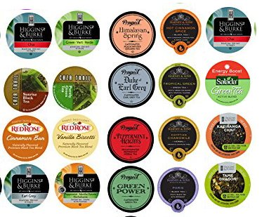 20 Cup Super TEA sampler 20 Varieties! NEW flavors! Harney Tea, Prospect Tea, Higgins & Burke, Red Rose, Salada (Taxi Chai Keurig compare prices)