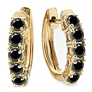 1.00 Carat (ctw) 14K Yellow Gold Round Black Diamond Ladies Huggies Hoop Earrings 1 CT