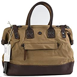 GOOTUCH Oversized Canvas Leather Travel Bag Handbag Shoulder Weekend Bag Soft Cotton Canvas (Small Size, Khaki)