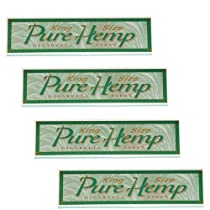 Pure Hemp Brand King Size Cigarette Rolling Papers, 4 Packs