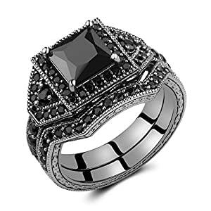 Caperci 2.0ct Black Princess Cut CZ Diamond Wedding Engagement Ring Set 14k Black Gold Plating 925 Sterling Silver Size 7