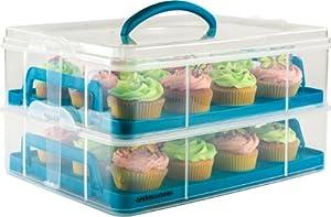 Andrew James - Porte-Gâteau Et Cupcakes Ajustable De 2 Étages - Pour Jusqu'à 24 Cupcakes - Avec Poignée Et Couvercle Pliant - Avec 2 Ans Garantie