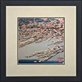 King Silk Art 100% Handmade Embroidery Framed Japanese Cherry Blossom Close-up View Oriental Wall Hanging Art Asian Decoration Tapestry Artwork Picture Gifts 37146WFB1
