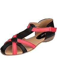 Velvet Women's Black/Red Flat Fashion Sandals