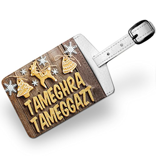 Luggage Tag Merry Christmas In Kabylian From Algeria, Kabylie, Travel Id Bag Tag - Neonblond
