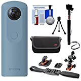 Ricoh Theta SC 360-Degree Spherical Digital Camera (Blue) with Helmet Mounts + Case + Selfie Stick + Mini Tripod + Kit