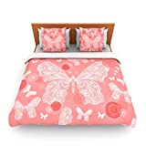 "Kess InHouse Monika Strigel ""Butterfly Dreams Coral"" Pink White Queen Fleece Duvet Cover, 88 by 88-Inch"