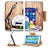 Samsung Galaxy Tab 3 7.0 Tablet Flip Case Paintbrushes watercolor gouache and paper are on wooden shelf IMAGE 19507948 by MSD Customized Premium Deluxe Pu Leather generation Accessories HD Wifi Luxury