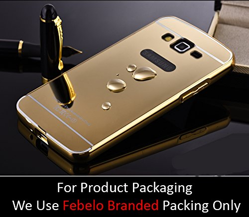Febelo Branded Luxury Metal Bumper Acrylic Mirror Back Cover Case For Samsung Galaxy Grand 2 - Gold Plated  available at amazon for Rs.149