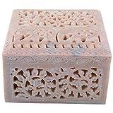 Curio Shop Handmade Stoneware Box - (L X B X H-12.5Cms X12.5Cms X8Cms , Beige/Natural )