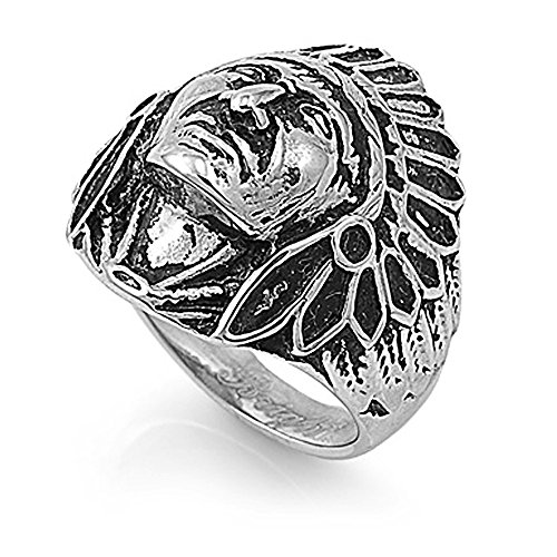Stainless Steel Native American Headdress Ring - Size9