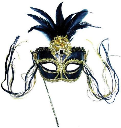 Fasching Anzug Augen Maske am Stab in schwarz und gold mit Bommel