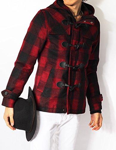 (リピード) REPIDO ダッフルコート メンズ ジャケット コート メルトン ウール ダッフル ショート丈 ミドル丈 メルトンダッフルコート ウールコート レッドチェック L