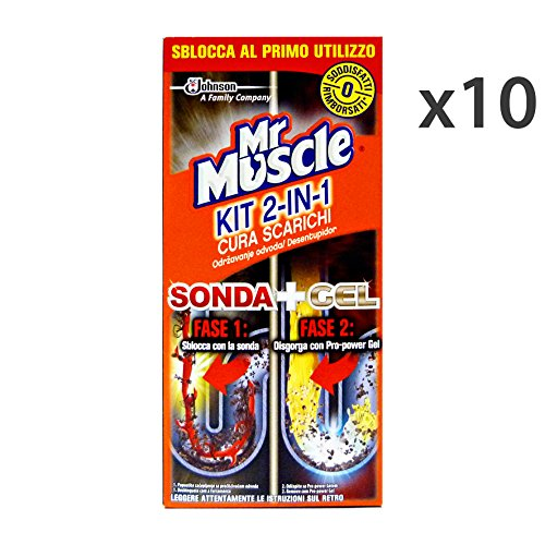 Set 10 MR.MUSCLE Kit 2in1 SONDA+Gel 500 Ml. Attrezzi Pulizie