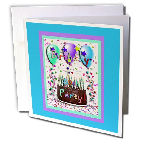 Beverly Turner Birthday Invitation Design - Birthday Party Chocolate Cake 80th - 1 Greeting Card with envelope (gc_20219_5)