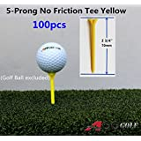 100pcs A99 Golf 5-Prong No Friction Tees 2 3 4 Yellow Color - Longer Straighter Drives