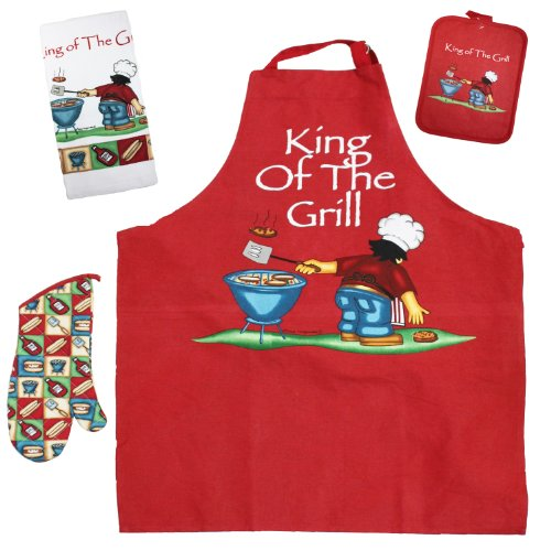 "J & M Home Fashions 4-Piece ""Bbq King Of The Grill"" Kitchen Towel Set"