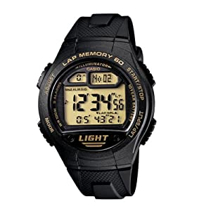 Casio W734-9AV Women's 60 lap memory LED Light Alarm Watch 100Mtr WTR