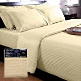 Homescapes - 330 Thread Count - ( Non - Twisted Yarn ) Ultrasoft - Cream ( With Satin Stripe ) Duvet Cover and...