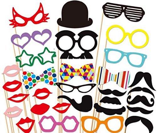 JZK® Set di photo booth cartoncini su bastoni poto props per matrimoni, compleanni, feste in generale, mascherine baffi barbe cappelli capelli cravatte papillon labbra occhiali ecc (31 pezzi (B))