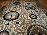 Beautiful Brand New Multi Size Area Rug 8x11 and 5x8 Set Rugs Blue Rug Modern 8x10 Rugs 5x7 Dining Room Carpet (Large 8x11)