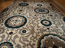 Beautiful Multi Size Area Rug 8x11 Rugs Blue Rug Modern 8x10 Rugs Dining Room Carpet (Large 8x11)