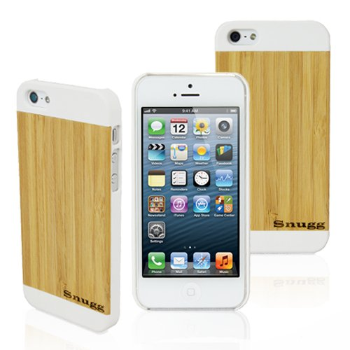 Snugg iPhone 5 / 5S Ultra Thin Case in White with Real Bamboo Wood Rear - High Quality Slim Profile Non Slip, Protective and Soft to touch for Apple iPhone 5 / 5S