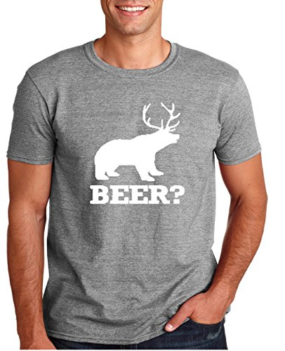 Adult Deer Beer Bear T Shirt Large Sports Gray (Beer Bear compare prices)