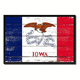Iowa State Shabby Chic Flag Art Canvas Print Custom Picture Frame Office Wall Home Decor Gift Ideas, 19\