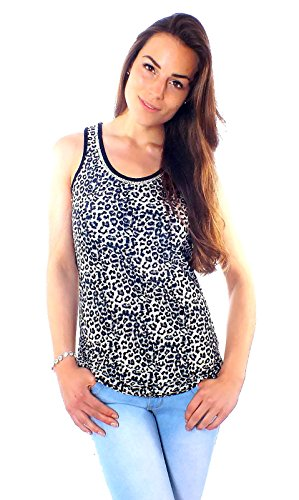 Damen Fashion Leo Top teiltransparent mit Strass Tank Top Shirt Beige-Schwarz