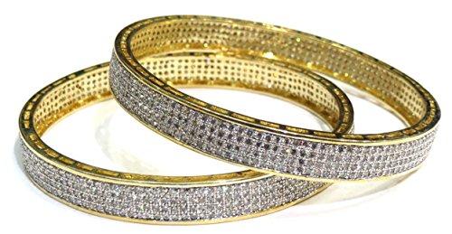 Shingar Jewellery Party Wear American Diamond A.d. Bangles Churi Kada Kangan Set In 2.4 Size For Women (6954-2.4-jb-a-1)