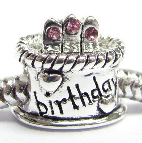 Queenberry .925 Sterling Silver Pink Rose CZ Happy Birthday Cake W/ Heart Love Charm For Pandora Troll Biagi Chamilia Birthstone October