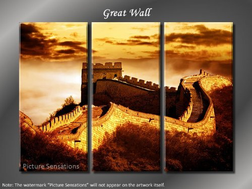 Framed Huge 3 Panel Modern Art China Great Wall Giclee Canvas Print
