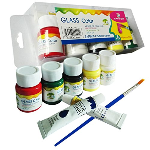 Magicdo Glass Paint , Professional Glass Colour set, 5 count Glass paint & 2 Acrylic colour& 1 brush,Quality Non Toxic Paint on Glass, 5 x 30ml Heavy, Rich Pigment, Suitable for Kids 3+ to Adults (Glass Painting Liner compare prices)