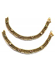 Shingar Ksvk Jewels Antique Gold Plated Payal / Pajeb / Anklet For Women (9729-payal)