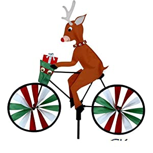 "20"" Reindeer on a Bicycle Garden Spinner"