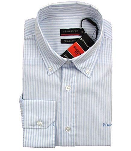 """PIERRE CARDIN """"normale"""" con motivo a righe a maniche lunghe da uomo classico camicia (Bianco/Blu)"""