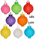 6 tlg. Set Papier Laterne mit LED Licht - kabellos