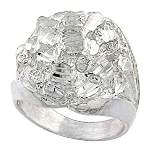 Sterling Silver Heavy Nugget Ring Round Shape Diamond Cut Finish , size V 1/2
