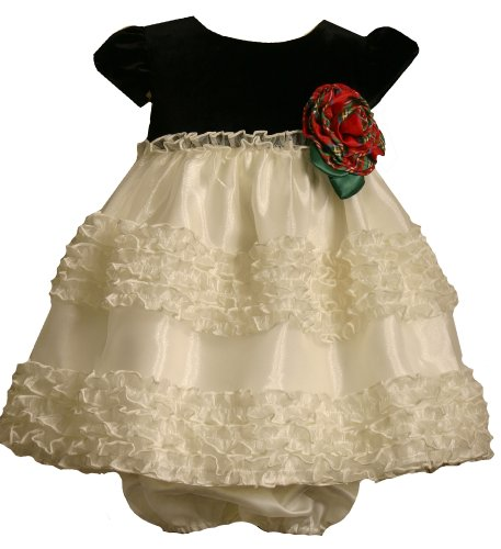 Bonnie Baby Stretch Velvet Bodice To Organza Skirt With Rousching, Ivory, 24 Months