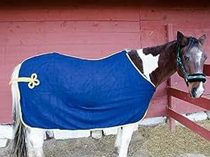 "Derby Originals Horse Fleece Cooler with Gold Trim, Navy, 69"""