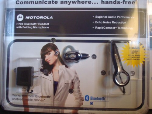 Motorola Bluetooth H700 Headset With Folding Microphone[Retail Packaged], Includes Vehicle Power Adapter And Travel Charger