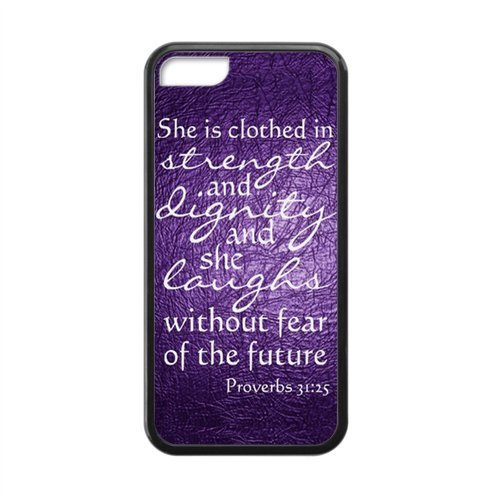 APPLE iPhone 5c Case – Bible Proverbs 31:25 She is clothed with strength and dignity, And she smiles at the future image