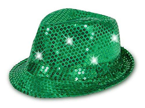 Cappello fedora borsalino di molti colori diversi con luci LED e paillette clubstyle discoteca popstar jazz blues lifestyle accessorio molto moderno hip hop spiaggia tempo libero, LED Trilby TH-40-54:TH-46 verde