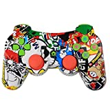 Amyove Gamepd Controller with Wireless Bluetooth Game Controller with Six Axis and Vibration for PS3 red (Color: blue)