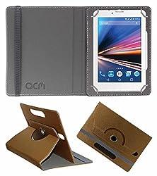 Acm Designer Rotating Leather Flip Case For Lava Ivory S 4g Tablet Cover Stand Golden