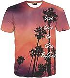 (ピゾフ)Pizoff メンズ Tシャツ 半袖 ヤシ柄 おもしろ 3Dプリント モード系 ストリート ファッション ヒップホップスタイル 快適 男女兼用 トップス 夏物 Y1625-75-XL